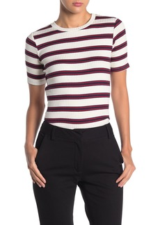 Velvet by Graham & Spencer Stripe Ribbed Knit T-Shirt