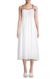 Velvet by Graham & Spencer Tasseled Cotton A-Line Maxi Dress
