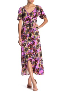Velvet by Graham & Spencer Floral Tie Front High/Low Maxi Dress