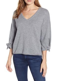 Velvet by Graham & Spencer Tie Sleeve Cashmere Sweater
