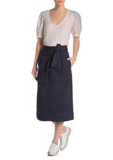 Velvet by Graham & Spencer Tie Waist Twill Midi Skirt