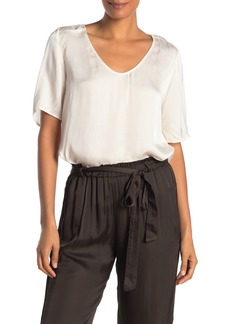 Velvet by Graham & Spencer Tita Satin Short Sleeve Top