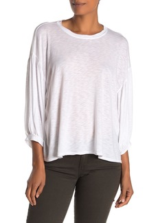Velvet by Graham & Spencer Tovah 3/4 Length Balloon Sleeve Slub Top