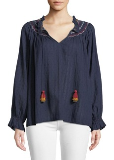 Velvet by Graham & Spencer Trudie Embroidered V-Neck Blouse
