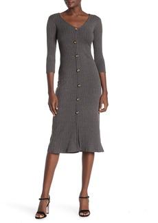 Velvet by Graham & Spencer V-Neck Button Front Knit Midi Dress