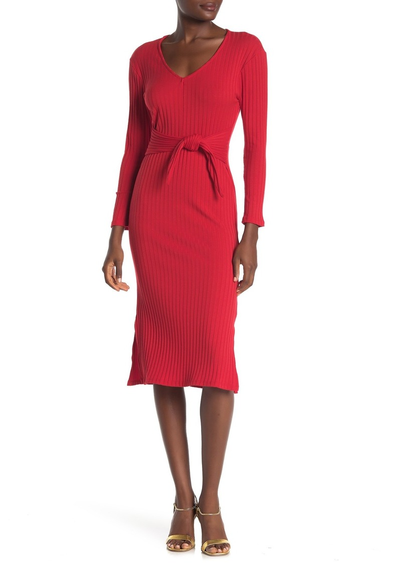 Velvet by Graham & Spencer V-Neck Tie Front Knit Midi Dress