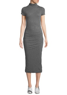 Velvet by Graham & Spencer Valda Ruched High-Neck Midi Dress