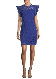 Velvet by Graham & Spencer Ally Frill-Sleeve Lace-Guipure Dress