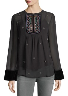 Velvet by Graham & Spencer Becky Split-Neck Long-Sleeve Chiffon Top