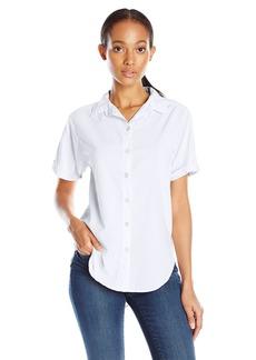 VELVET BY GRAHA & SPENCER Women's Short Sleeve Button Down Shirt  edium