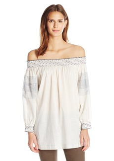 VELVET BY GRAHAM & SPENCER Women's Embroidered Off Shoulder Tunic  S