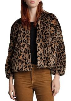 Velvet by Graham & Spencer Anne Leopard Print Faux Fur Jacket