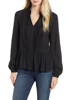 Velvet by Graham & Spencer Beaded Peasant Blouse
