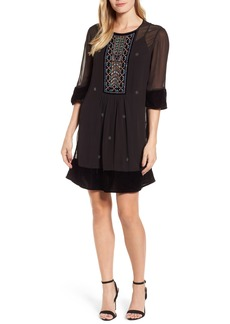 Velvet by Graham & Spencer Beaded Velvet Georgette Dress