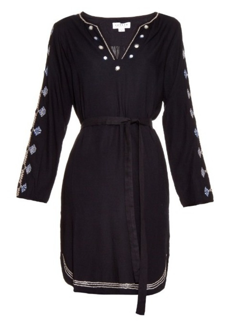 Velvet By Graham & Spencer Belton Tibetan embroidered dress