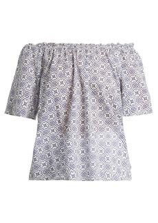 Velvet By Graham & Spencer Bertie off-the-shoulder geometric-print cotton top