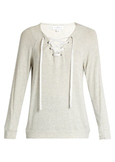 Velvet By Graham & Spencer Billow lace-up jersey top