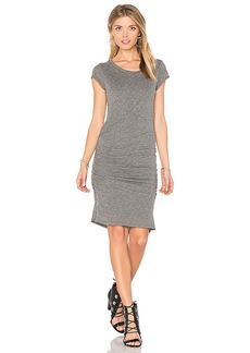 Velvet by Graham & Spencer Ciroc Ruched Midi Dress in Gray. - size S (also in XS)