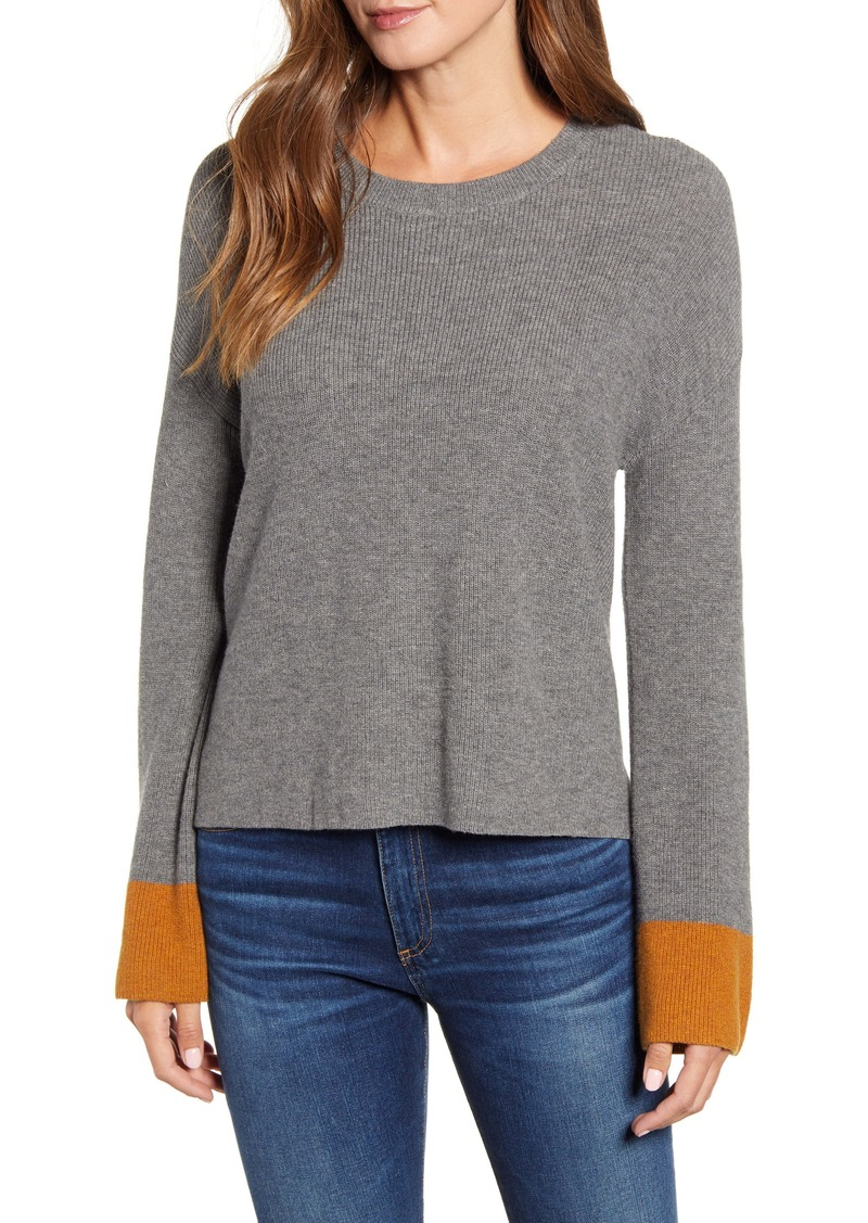 Velvet by Graham & Spencer Colorblock Cuff Wool & Cotton Sweater