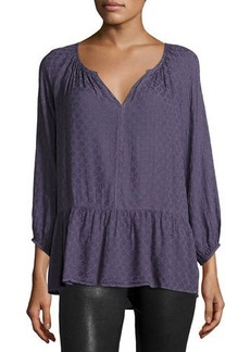 Velvet by Graham & Spencer Damask-Print Split-Neck Blouse