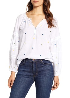 Velvet by Graham & Spencer Dot Embroidery Cotton Voile Blouse