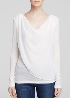 Velvet by Graham & Spencer Draped Chiffon Overlay Tee