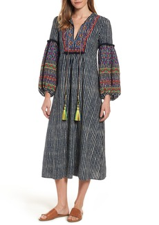 Velvet by Graham & Spencer Embroidered Peasant Midi Dress