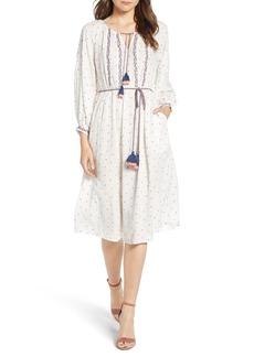 Velvet by Graham & Spencer Embroidered Tassel Tie A-Line Dress