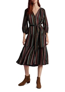 Velvet by Graham & Spencer Felicity Tiered Striped Midi Dress