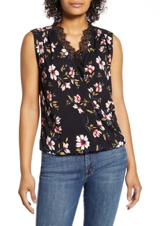 Velvet by Graham & Spencer Floral Lace Detail Sleeveless Cotton Blouse
