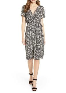 Velvet by Graham & Spencer Floral Wrap Front Short Sleeve Dress