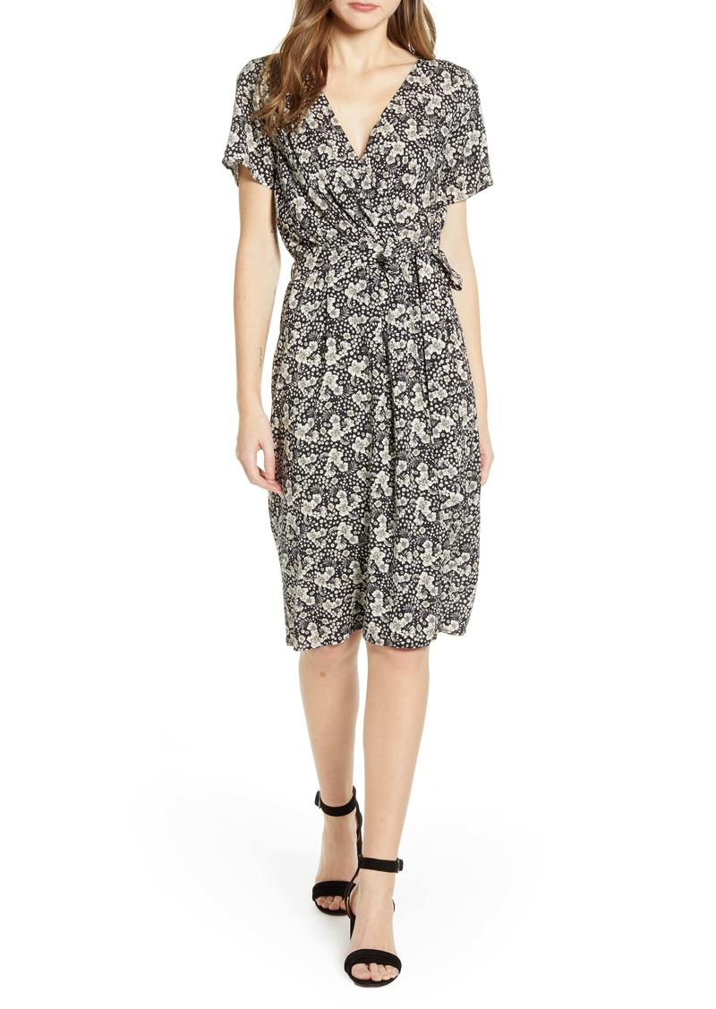 Velvet by Graham & Spencer Floral Wrap Front Short Sleeve Dress