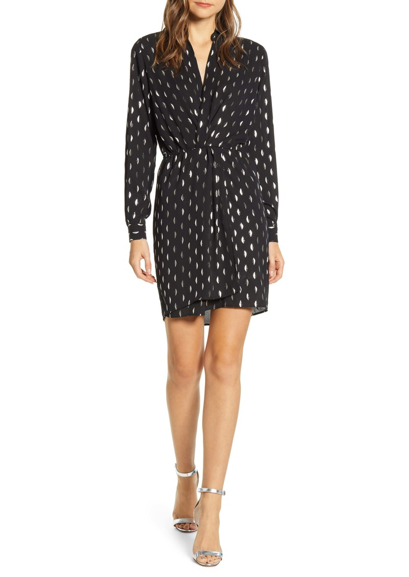 Velvet by Graham & Spencer Foil Print Long Sleeve Surplice Dress