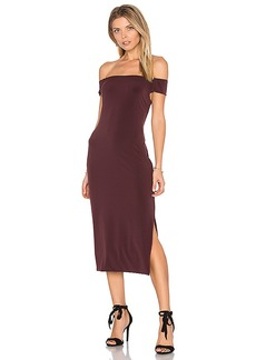 Velvet by Graham & Spencer Francella Off Shoulder Midi Dress in Wine. - size L (also in M,S,XS)