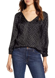 Velvet by Graham & Spencer Geo Print Satin Blouse