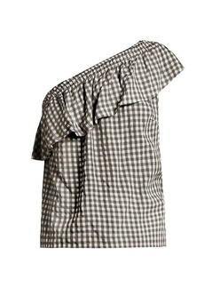 Velvet By Graham & Spencer Haley one-shoulder gingham top