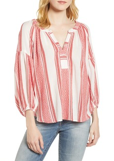Velvet by Graham & Spencer Jacquard Stripe Peasant Blouse