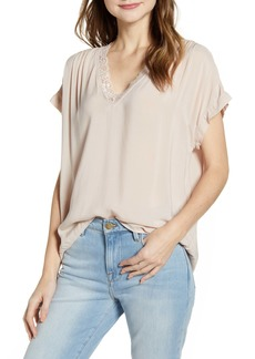 Velvet by Graham & Spencer Lace Trim Short Sleeve Blouse