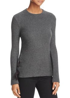 Velvet by Graham & Spencer Lace-Up Rib-Knit Top