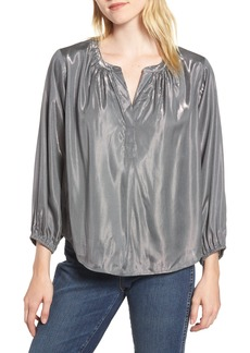 Velvet by Graham & Spencer Lamé Henley Blouse