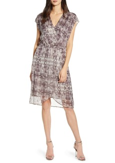 Velvet by Graham & Spencer Metallic Thread Wrap Front Dress
