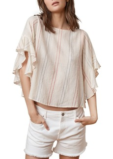 Velvet by Graham & Spencer Lija Ruffle-Sleeve Striped Top