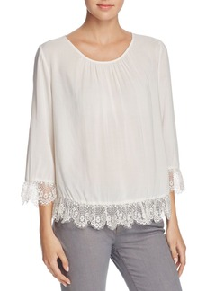 Velvet by Graham & Spencer Mixed Lace Challis Blouse