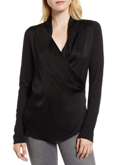 Velvet by Graham & Spencer Mixed Media Satin Surplice Blouse