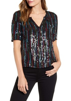 Velvet by Graham & Spencer Multicolor Sequin Short Sleeve Top