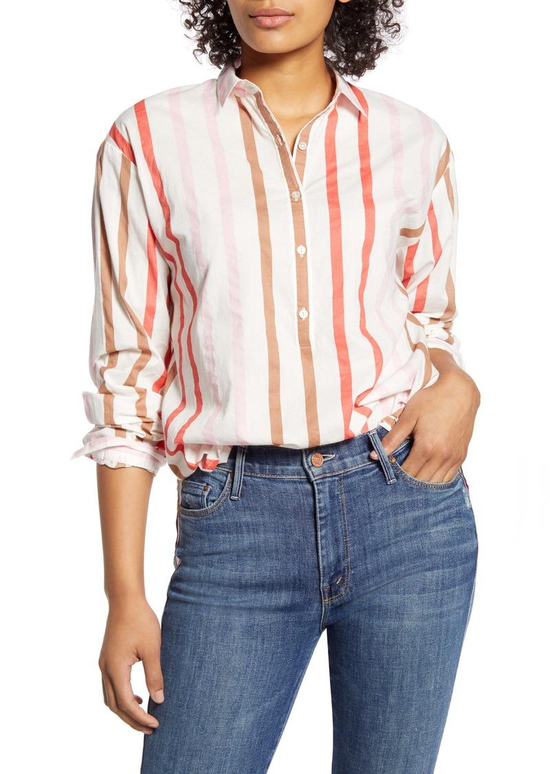 Velvet by Graham & Spencer Ombré Stripe Button-Up Cotton Shirt