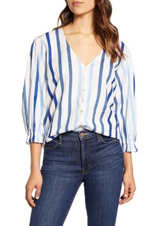 Velvet by Graham & Spencer Ombré Stripe Cotton Button-Up Shirt