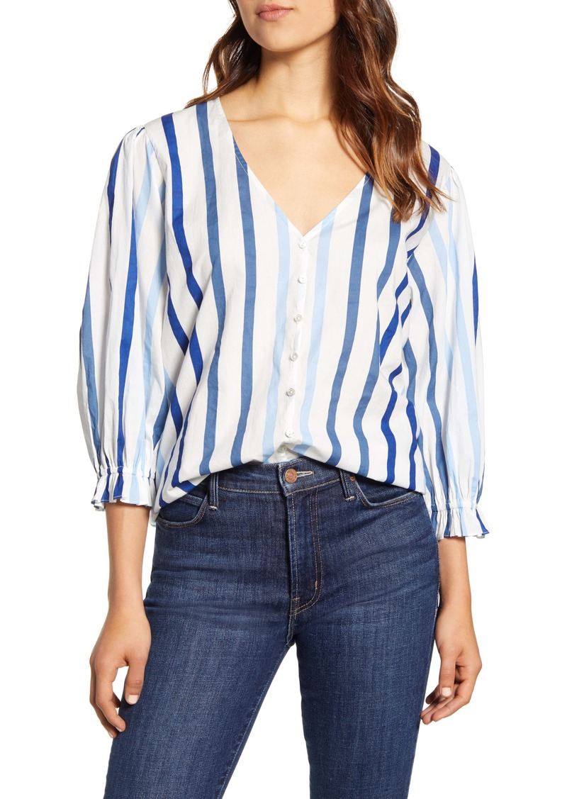 Velvet by Graham & Spencer Ombré Stripe Cotton Button-Up Shirt