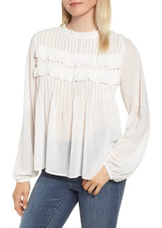 Velvet by Graham & Spencer Pintucked Chiffon Blouse