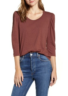 Velvet by Graham & Spencer Puff Sleeve Cotton Slub Top